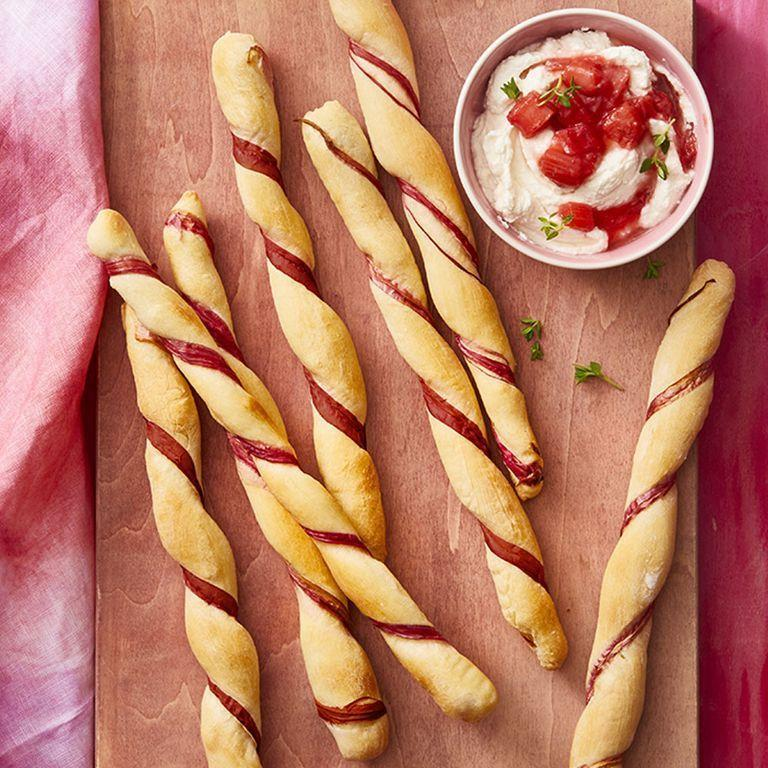 """<p>These rhubarb twists are such a good option for a grab-and-go snack that kids will actually enjoy eating. Plus, it's a great way to get them an extra serving of vegetables (yes, rhubarb is a vegetable).</p><p><em><a href=""""https://www.womansday.com/food-recipes/food-drinks/a27244051/rhubarb-twists-with-rhubarb-compote/"""" rel=""""nofollow noopener"""" target=""""_blank"""" data-ylk=""""slk:Get the Rhubarb Twist recipe"""" class=""""link rapid-noclick-resp"""">Get the Rhubarb Twist <em>recipe</em></a>.</em></p>"""