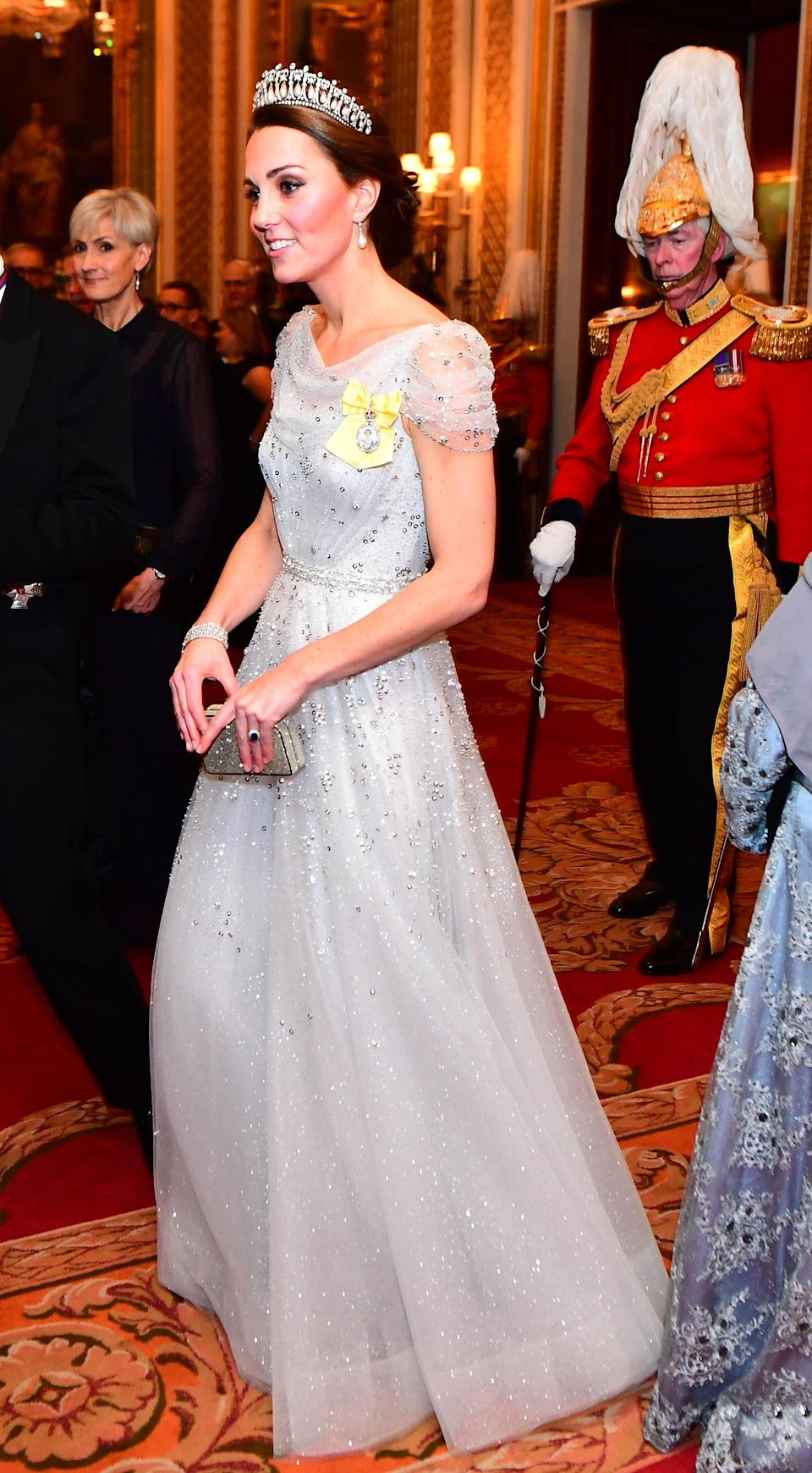 Kate wore Princess Diana's Lover's Knot tiara and Collingwood diamond and pearl drop earrings for the Queen's annual Diplomatic Reception 2018. She teamed the jewels with a bespoke Jenny Packham gown and her Royal Family Order (PA)