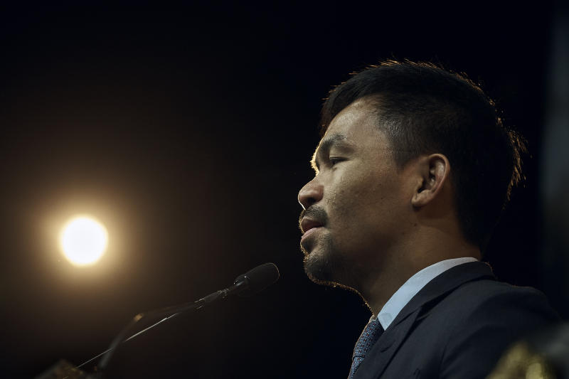 Manny Pacquiao speaks during a news conference on Tuesday, May 21, 2019, in New York. Pacquiao and Keith Thurman are scheduled to fight in a welterweight world championship boxing bout on Saturday, July 20, in Las Vegas. (AP Photo/Andres Kudacki)