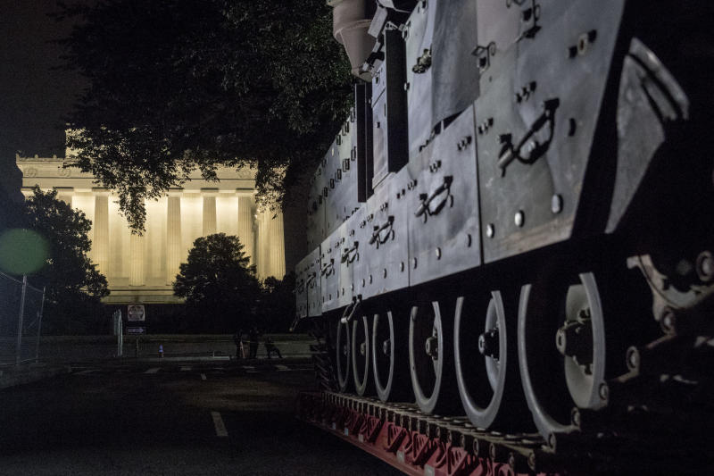 One of two Bradley Fighting Vehicles is parked next to the Lincoln Memorial ahead of President Trump's Salute to America event. (AP photo/Andrew Harnik)