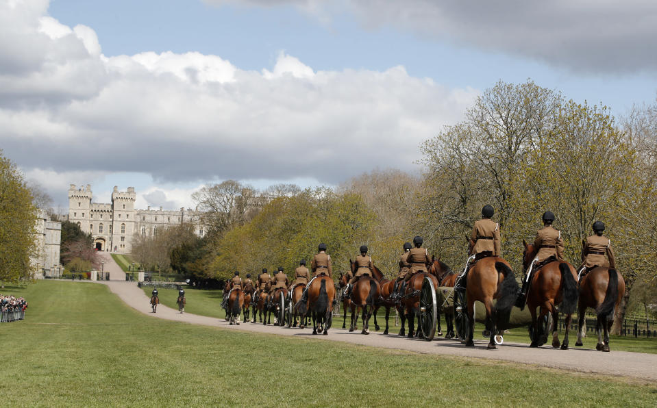King's Troop Royal Horse Artillery rehearses on the Long Walk towards Windsor Castle in Windsor, Thursday, April 15, 2021. Britain's Prince Philip, husband of Queen Elizabeth II, died Friday April 9 aged 99. His funeral service will take place on Saturday at Windsor Castle. (AP Photo/Frank Augstein)