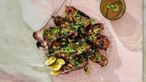 """<a href=""""https://www.bonappetit.com/recipe/charred-eggplant-with-spicy-tomato-sauce?mbid=synd_yahoo_rss"""" rel=""""nofollow noopener"""" target=""""_blank"""" data-ylk=""""slk:See recipe."""" class=""""link rapid-noclick-resp"""">See recipe.</a>"""