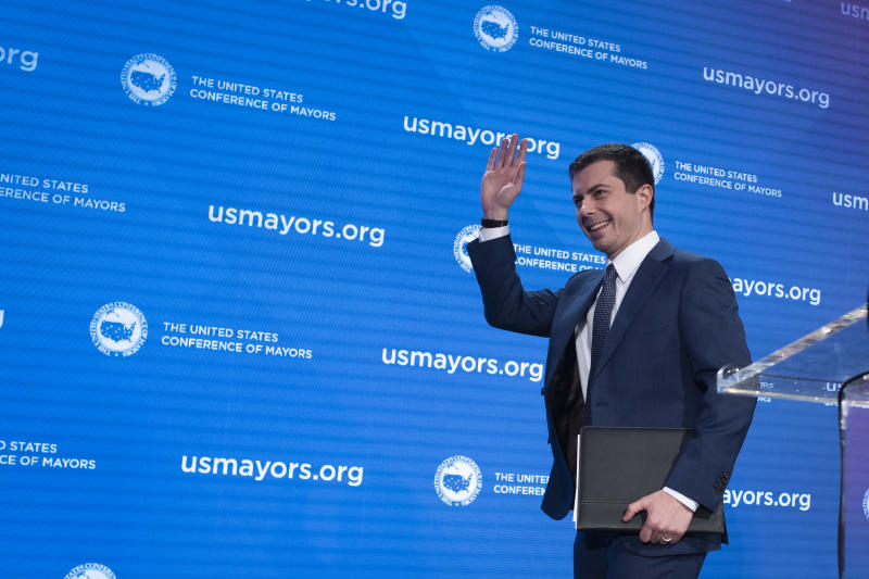 Democratic presidential candidate former South Bend, Ind., Mayor Pete Buttigieg, walks off stage after speaking at the U.S. Conference of Mayors' Winter Meeting, Thursday, Jan. 23, 2020, in Washington. (AP Photo/Cliff Owen)