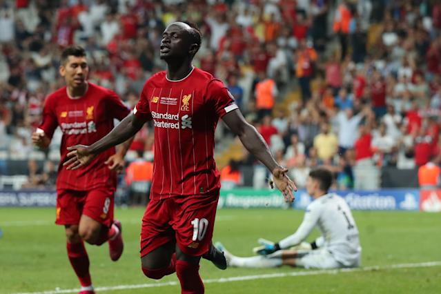 Sadio Mane of Liverpool celebrates after scoring a goal to make it 1-1. (Credit: Getty Images)