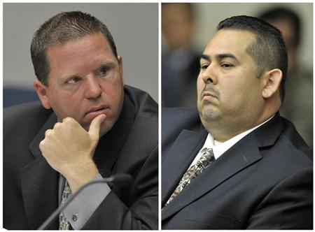 A combination photo shows Fullerton police officers Jay Cicinelli and Manuel Ramos at a preliminary hearing on the death of Kelly Thomas in court in Santa Ana