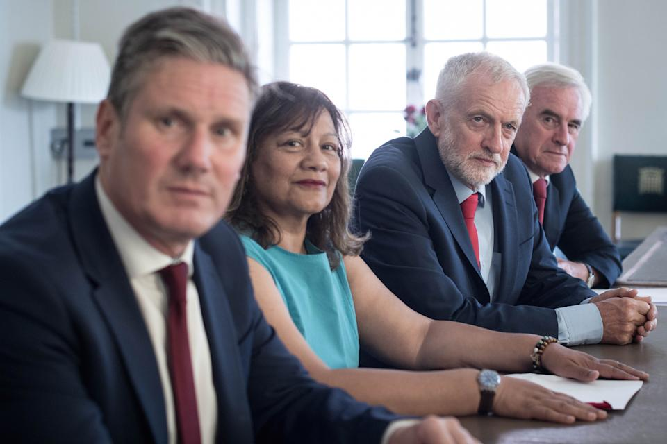 (left to right) Shadow Brexit Secretary Sir Kier Starmer, shadow leader of the House of Commons Valerie Vaz, Labour Party leader Jeremy Corbyn and shadow chancellor John McDonnell, prior to meeting with senior MPs from across all parties to discuss stopping a no-deal Brexit.