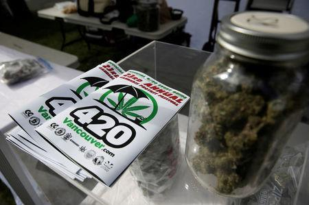 A program and a jar filled with marijuana buds are pictured at the annual 4/20 marijuana event at Sunset Beach in Vancouver, British Columbia, Canada April 20, 2017. REUTERS/Jason Redmond