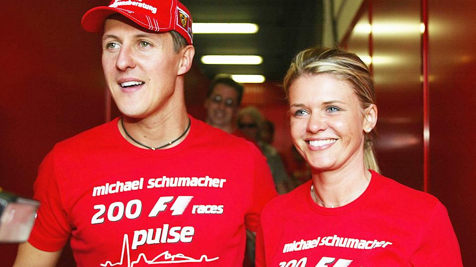 Michael Schumacher, pictured here wife Corrina at the Spanish F1 Grand Prix in 2004.