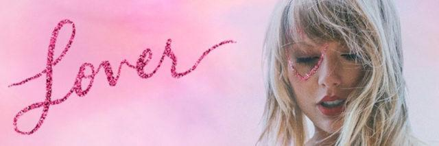 Taylor Swift in front of pink clouds