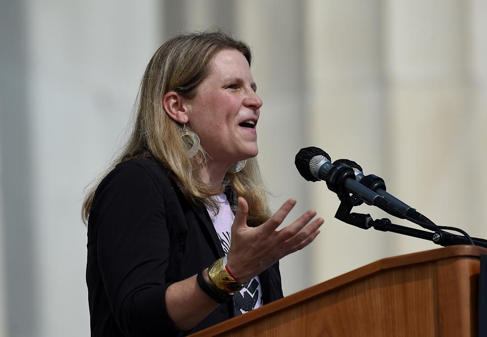 Secretary-Treasurer of American Federation of Labor and Congress of Industrial Organizations (AFL-CIO) Liz Shuler speaks at the Lincoln Memorial during the 'Get Your Knee Off Our Necks' march in support of racial justice, in Washington, U.S., August 28, 2020. Olivier Douliery/Pool via REUTERS