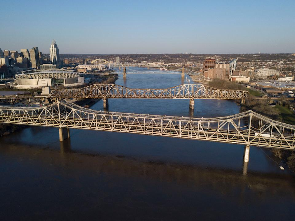 The Brent Spence Bridge spans the Ohio River on the Ohio-Kentucky border in Cincinnati, Ohio on April 2, 2021. (Jeff Dean/AFP via Getty Images)