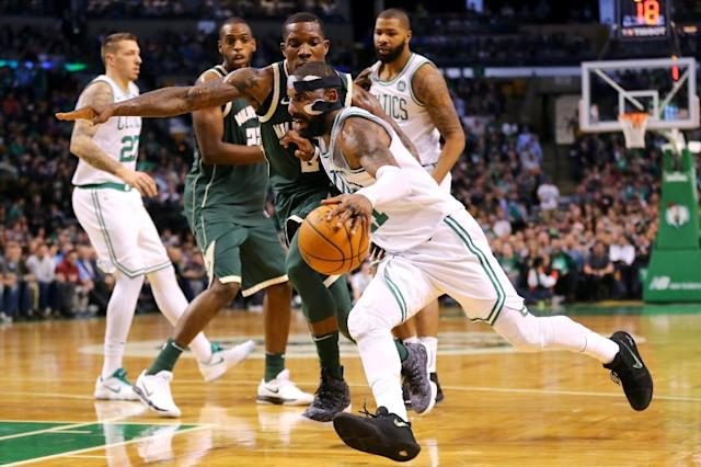 Kyrie Irving made 13-of-24 from the floor, including 19 points in the second half, as the Boston Celtics overcame the Milwaukee Bucks 111-100 (AFP Photo/Maddie Meyer)
