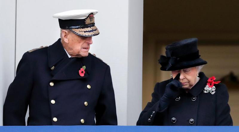 Prince Philip could be seen giving his wife a comforting glance. Photo: Getty Images