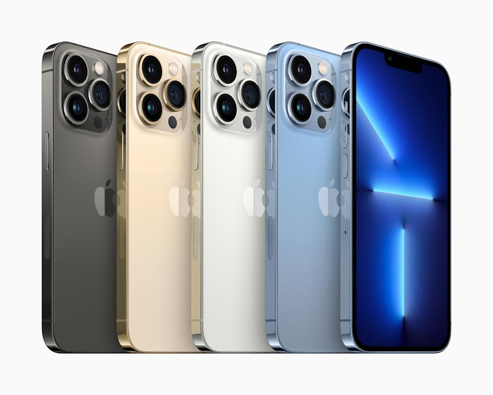 iPhone 13 Pro and iPhone 13 Pro Max will be available in four stunning finishes including graphite, gold, silver, and sierra blue. (PHOTO: Apple)