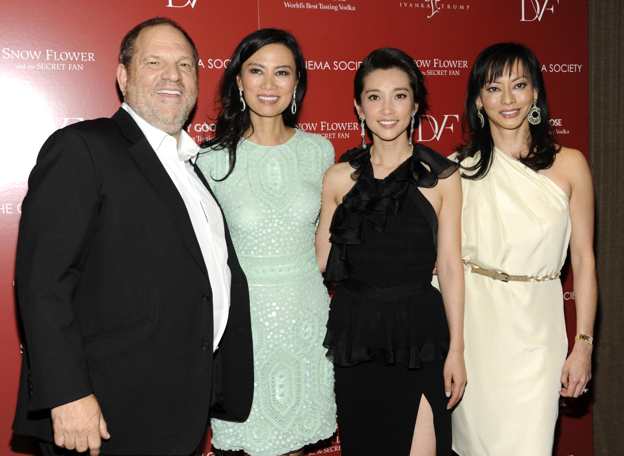 Film producer Harvey Weinsten, producer Wendi Murdoch, actress Li Bingbing and producer Florence Sloan attend a special screening of 'Snow Flower and the Secret Fan' hosted by the Cinema Society at the Tribeca Grand Hotel on Wednesday, July 13, 2011 in New York. (AP Photo/Evan Agostini)