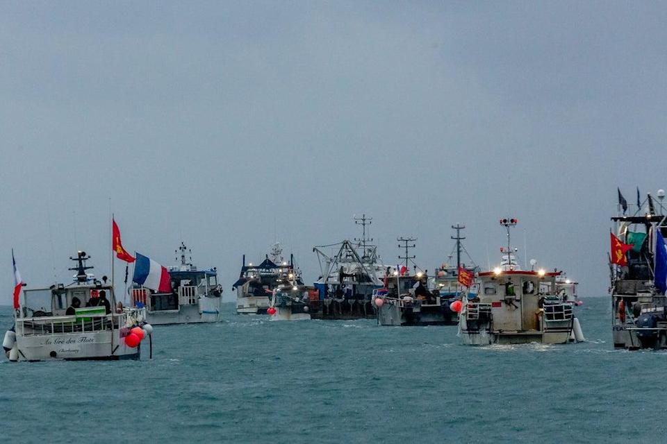 French fishing vessels protested outside the harbour at St Helier, Jersey (Gary Grimshaw/Bailiwick Express/PA) (PA Media)
