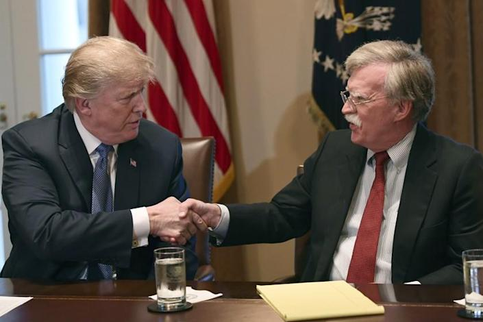 President Trump and John Bolton at the White House in 2018.