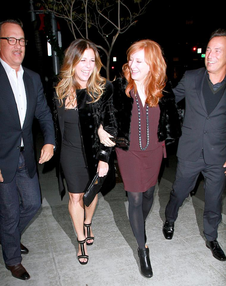 """Tom Hanks and """"The Boss"""" Bruce Springstein and their wives were seen arriving at David Geffen's private party at Spargo's Restaurant in Beverly Hills, CA. Pictured: Tom Hanks, Rita Wilson, Bruce Springstein and Patti Scialfa   Ref: SPL458931  141112  Picture by: SPW/Splash News   Splash News and Pictures Los Angeles:310-821-2666 New York:212-619-2666 London:870-934-2666 photodesk@splashnews.com"""