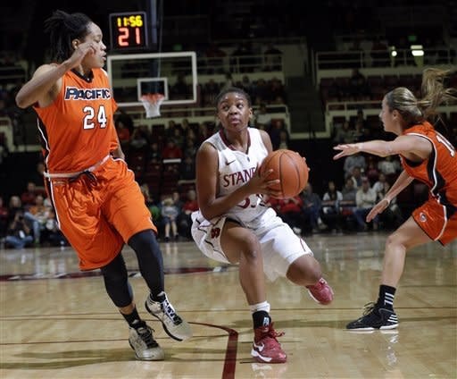 Stanford's Amber Orrange (33) dribbles between Pacific's Gena Johnson (24) and Sam Pettinger (14) during the second half of an NCAA women's college basketball game in Stanford, Calif., Saturday, Dec. 15, 2012. (AP Photo/Marcio Jose Sanchez)