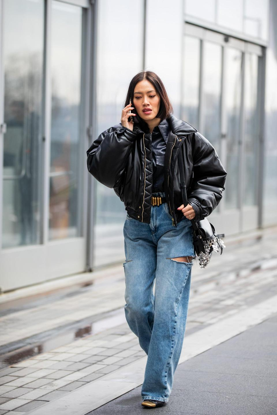 <p>Skater, but make it fashion with a distressed pair of baggy jeans, a leather jacket, and heels. </p>
