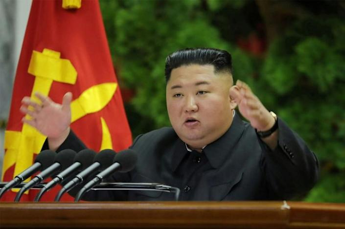 Kim told a meeting of top ruling party officials that 'positive and offensive measures for fully ensuring the sovereignty and security of the country' (AFP Photo/KCNA VIA KNS)
