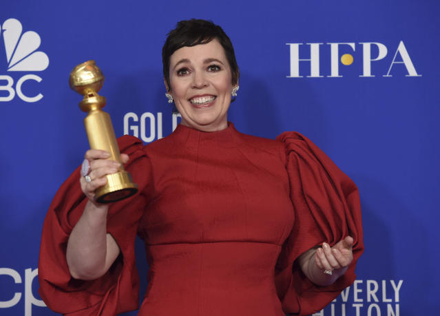 """Olivia Colman poses in the press room with the award for best performance by an actress in a television series, drama for """"The Crown"""" at the 77th annual Golden Globe Awards at the Beverly Hilton Hotel on Sunday, Jan. 5, 2020, in Beverly Hills, Calif. (AP Photo/Chris Pizzello)"""