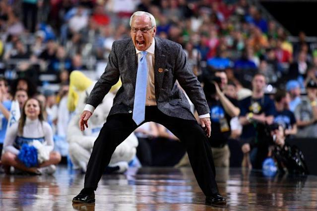 UNC's Roy Williams reacts to gameplay during the Tar Heels' win over Oregon on Saturday. (Getty)