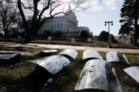 U.S. National Guard riot shields are laid out at the ready outside the U.S. Capitol Building