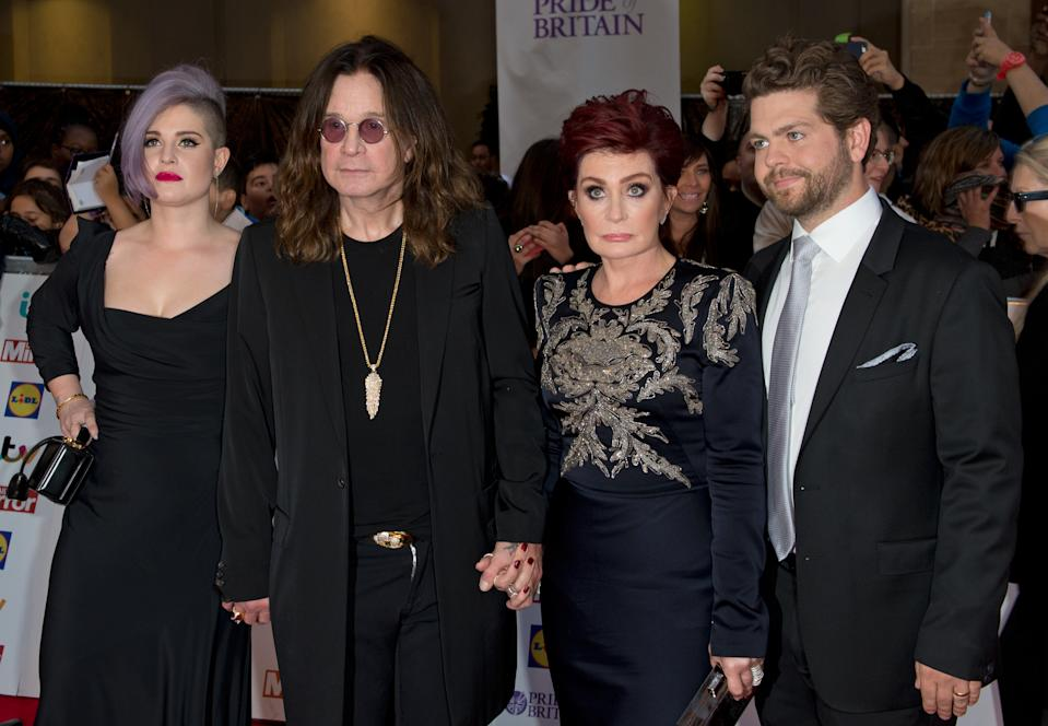 Kelly Osbourne, Ozzy Osbourne, Sharon Osbourne and Jack Osbourne arriving at the 2015 Pride of Britain Awards at the Grosvenor House Hotel in London (Photo by Zak Hussein/Corbis via Getty Images)