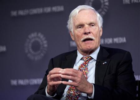 "Turner, founder of CNN, speaks on a panel after the screening of ""Cold War"" at the Paley Center for Media in New York"