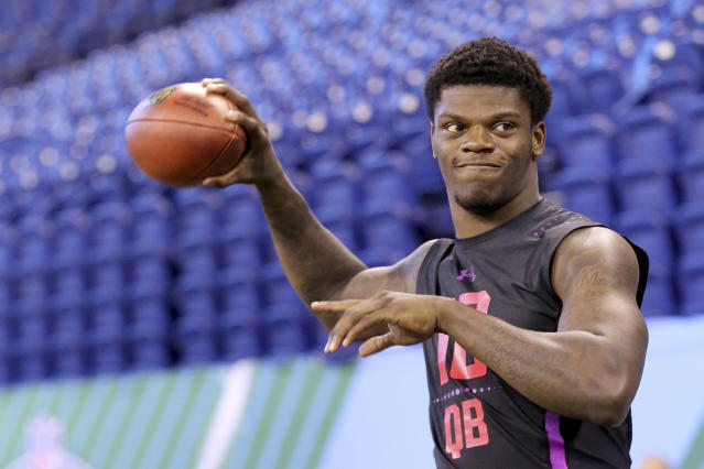 Louisville quarterback Lamar Jackson did not run the 40-yard dash at his pro day. (AP)