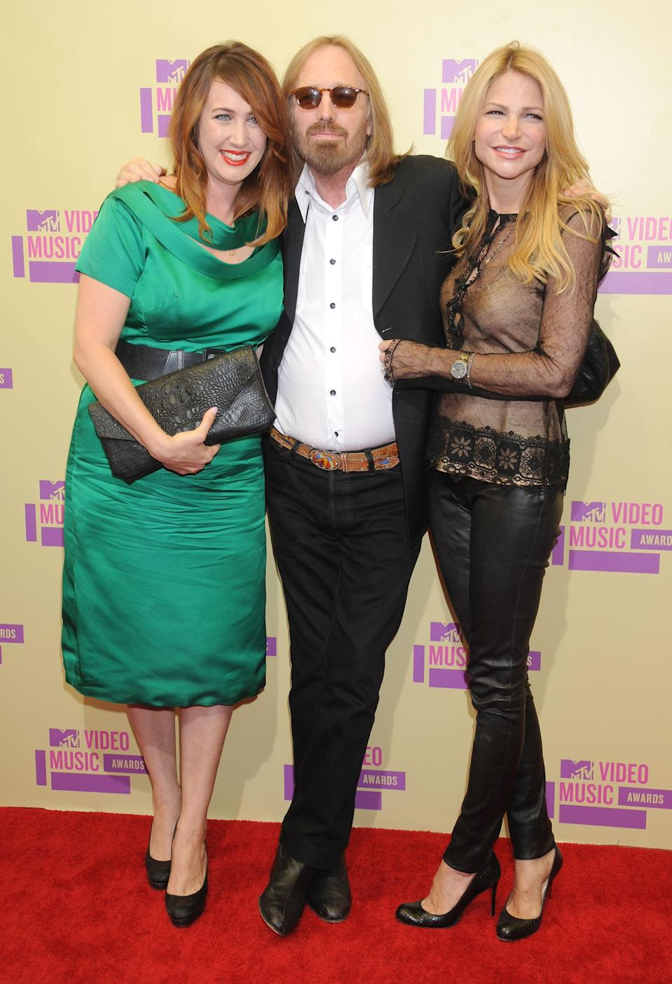 Tom Petty turned up at the 2012 VMAs with his daughter Adria and wife, Dana. (Photo: Gregg DeGuire/WireImage)