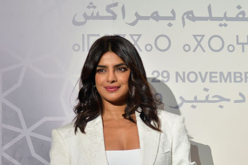"""FILE PHOTO: Priyanka Chopra attends the """"Conversation with"""" section at the 18th edition of the Marrakech International Film Festival"""