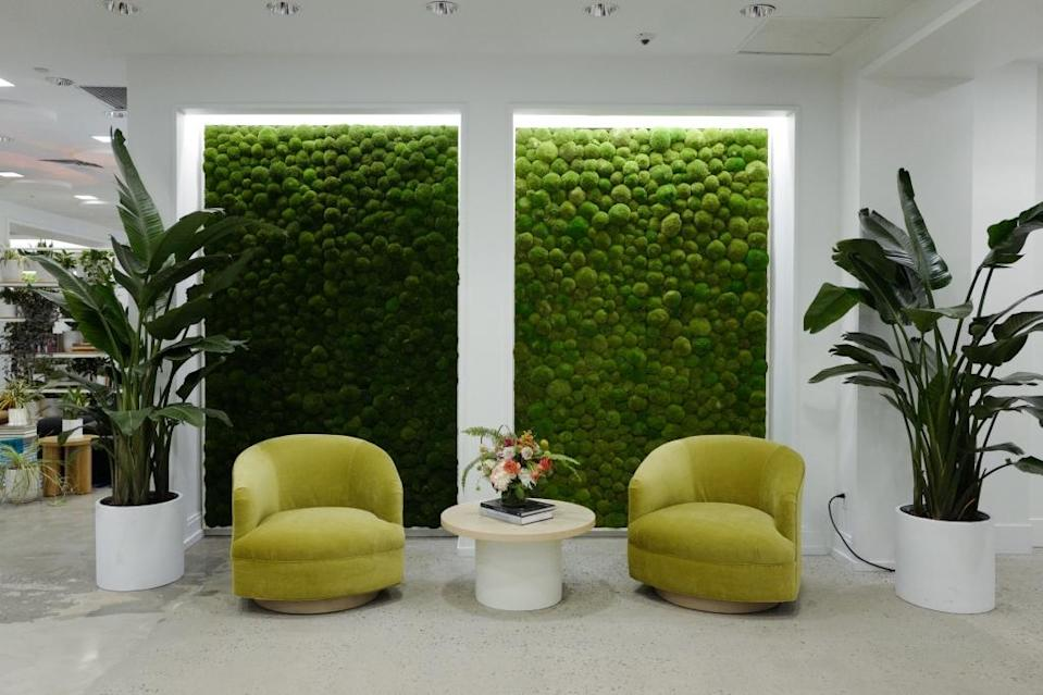 These plant-covered walls were installed to absorb noise.