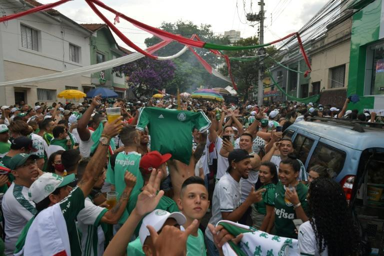 Palmeiras fans gathered to watch the Copa Libertadores final against Sao Paulo state rivals Santos despite the stadium ban on supporters