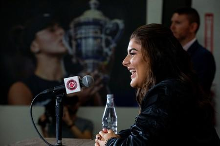 Canadian tennis player Bianca Andreescu speaks with the news media about her win at the U.S. Open
