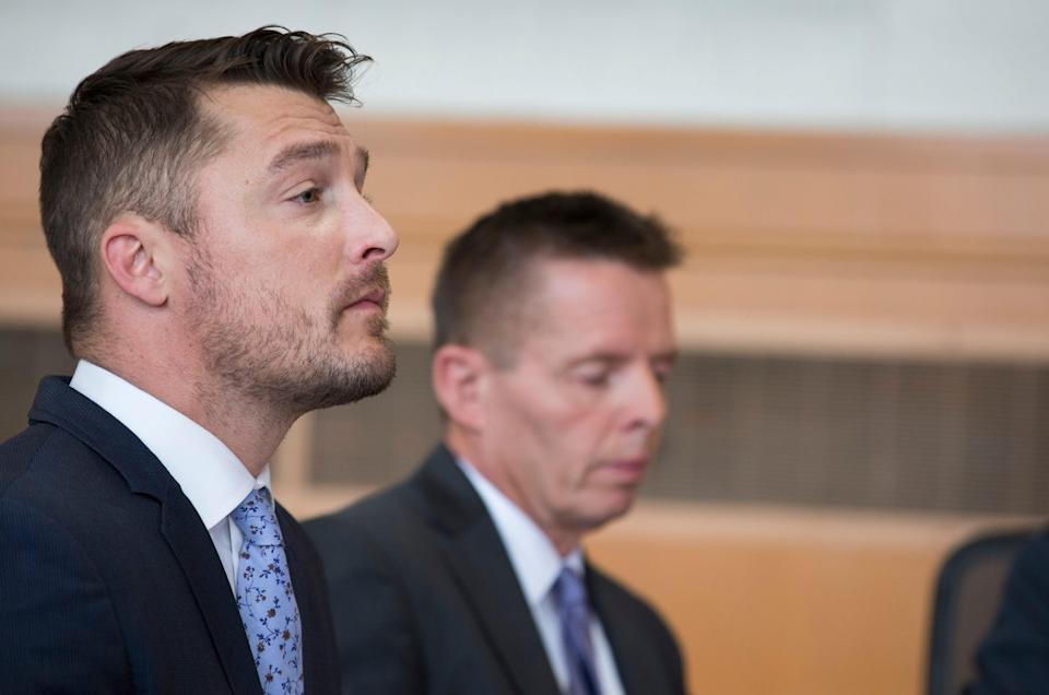 Chris Soules sits in a courtroom during his sentencing in connection to a 2017 wreck that killed Kenneth Mosher, on Tuesday, May 21, 2019, in Independence, Iowa.