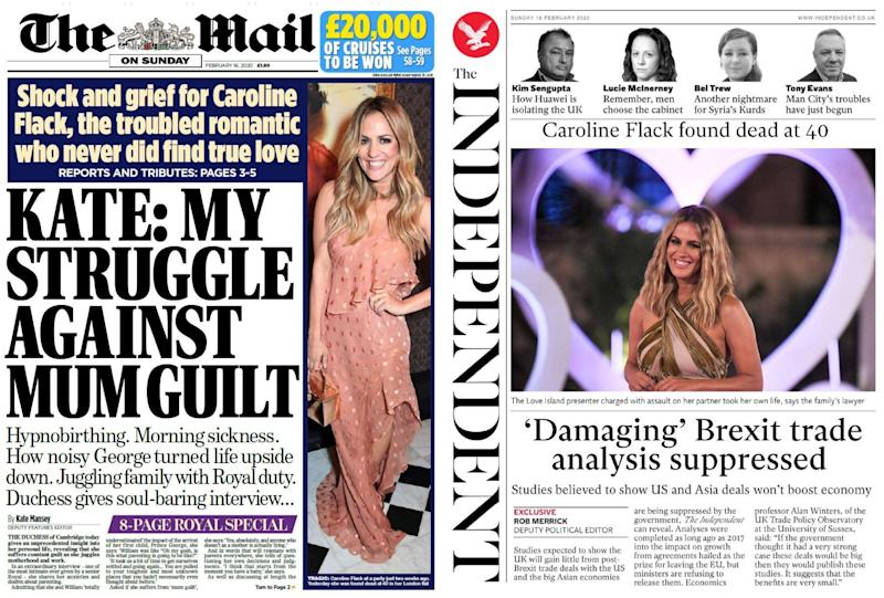 The Mail on Sunday and Independent led with stories on Kate Middleton and Brexit