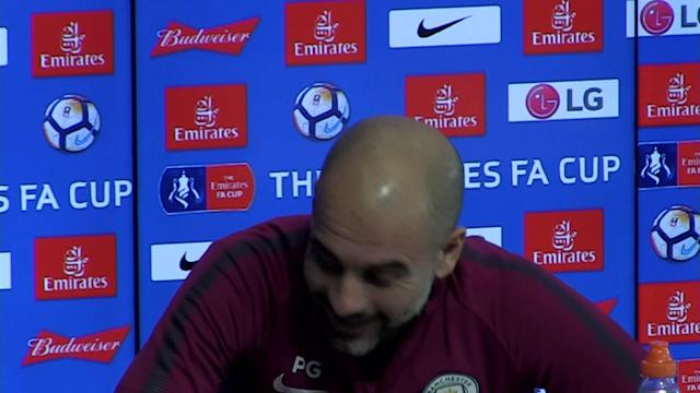 Manchester City manager pre match press conference for the game v Cardiff in FA Cup Round 4. Talking about David Silva