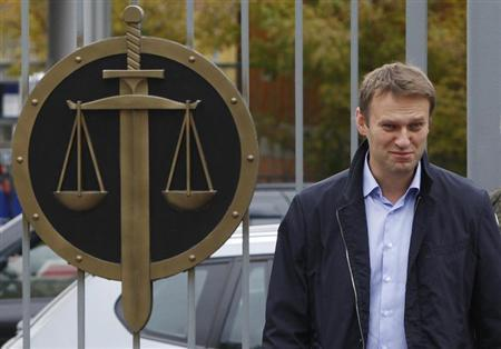 Russian opposition leader Navalny arrives at a court in Moscow