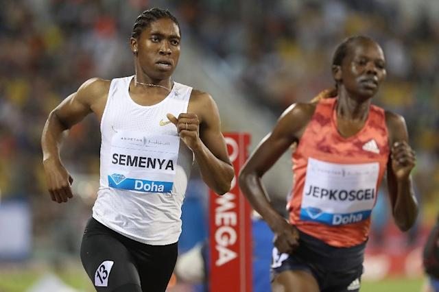 Caster Semenya powered to victory in the 1500m in Doha on Friday (AFP Photo/KARIM JAAFAR)