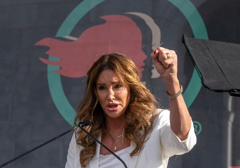Caitlyn Jenner said she opposes transgender girls competing in girls' sports at school (AP)