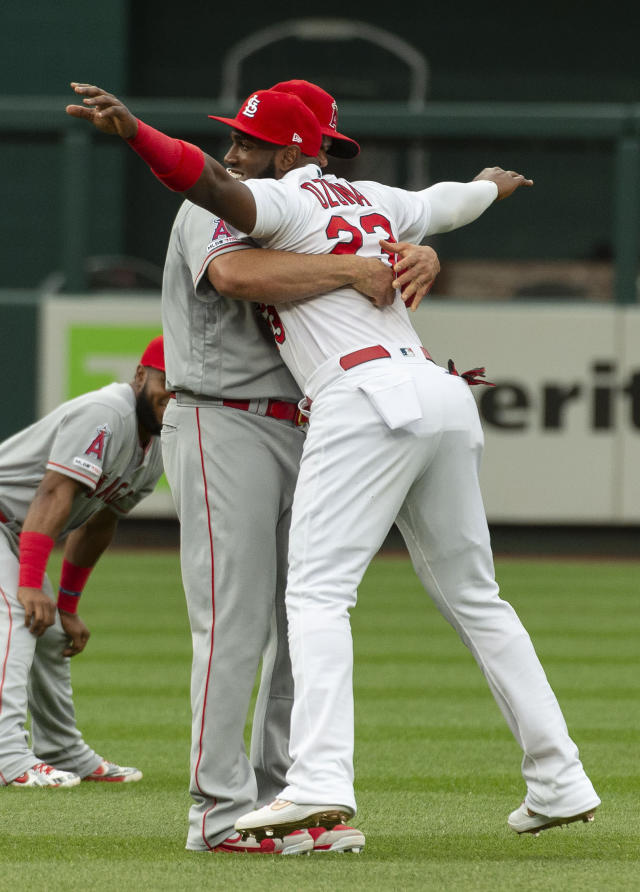 Los Angeles Angels' Albert Pujols, left, picks up St. Louis Cardinals' Marcell Ozuna, right, as they talk on the field before the start of a baseball game Friday, June 21, 2019, in St. Louis. (AP Photo/L.G. Patterson)