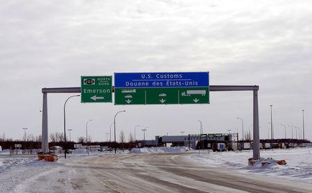 The Canadian side of the Canada-U.S border crossing, where refugees make their way into the province, is seen in Emerson, Manitoba, Canada, February 1, 2017. REUTERS/Lyle Stafford
