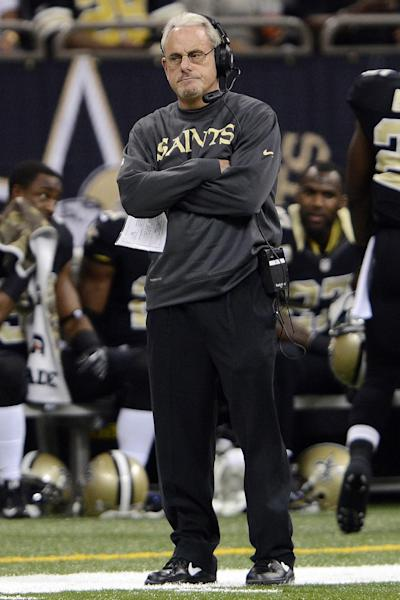 FILE - In this Nov. 11, 2012, file photo, New Orleans Saints acting head coach Joe Vitt watches the first half of an NFL football game against the Atlanta Falcons in New Orleans. Former New Orleans defensive coordinator Gregg Williams said at an appeals hearing in the Saints bounty case that he tried to shut down the team's pay-for-pain system when the NFL began investigating but was overruled by Vitt, according to transcripts of the session that were obtained by The Associated Press on Wednesday, Dec. 12. (AP Photo/Bill Feig, File)