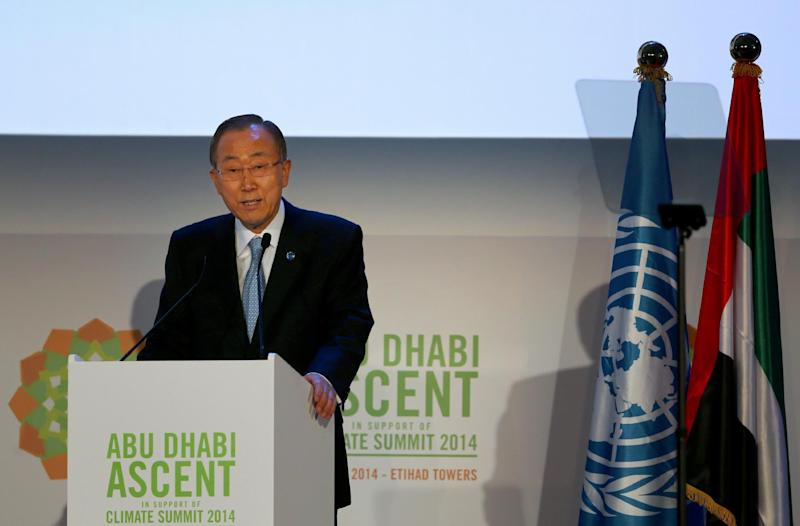 UN Secretary General Ban Ki-moon gives a speech meeting to prepare for the climate change summit in New York on May 4, 2014 in Abu Dhabi (AFP Photo/Marwan Naamani)
