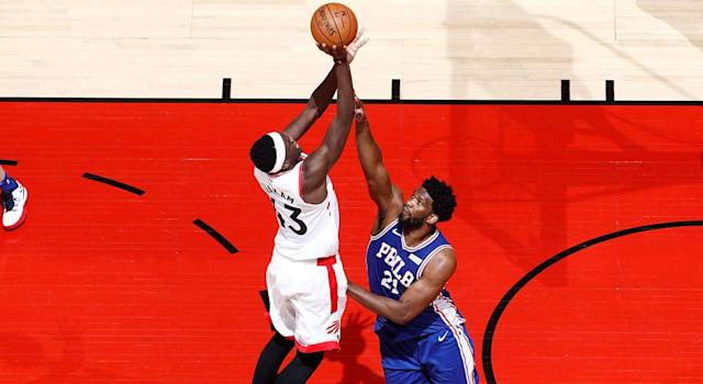 Philadelphia 76ers' Joel Embiid made life miserable for Toronto Raptors' Pascal Siakam in Game 2. (Photo by Mark Blinch/NBAE via Getty Images)