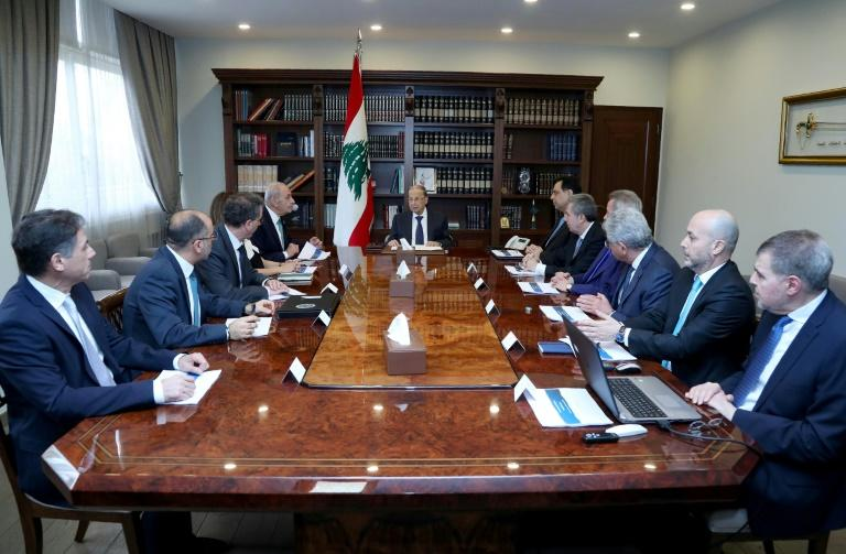 Lebanon's President Michel Aoun (C) headed talks with top officials on Saturday ahead of a cabinet meeting
