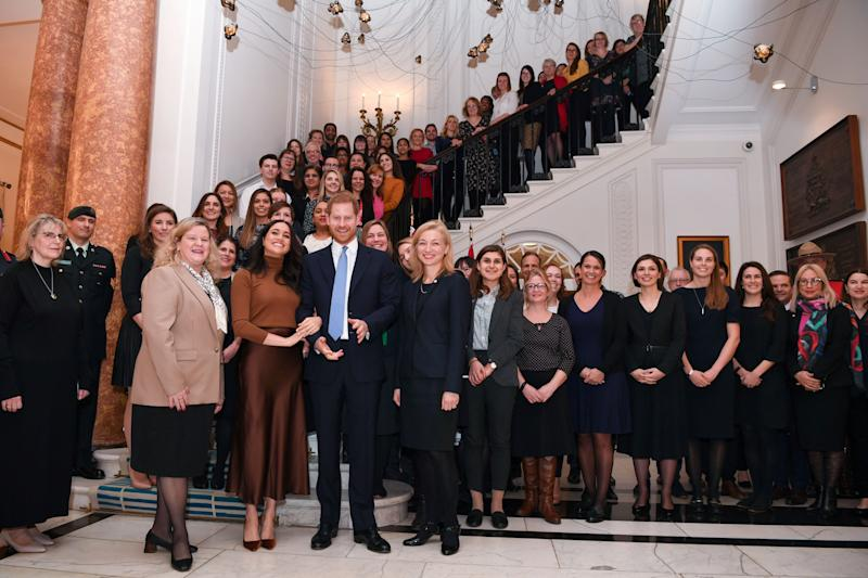 LONDON, UNITED KINGDOM - JANUARY 07: Prince Harry, Duke of Sussex and Meghan, Duchess of Sussex stand with the High Commissioner for Canada in the United Kingdom, Janice Charette (4thL) and the deputy High Commissioner, Sarah Fountain Smith (7thL), as they pose for a photograph with High Commission staff during their visit to Canada House in thanks for the warm Canadian hospitality and support they received during their recent stay in Canada, on January 7, 2020 in London, England. (Photo by DANIEL LEAL-OLIVAS - WPA Pool/Getty Images)