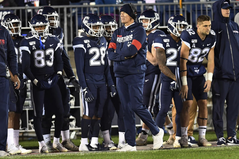Connecticut coach Randy Edsall watches during the first half of the team's NCAA college football game against Navy on Friday, Nov. 1, 2019, in East Hartford, Conn. (AP Photo/Stephen Dunn)